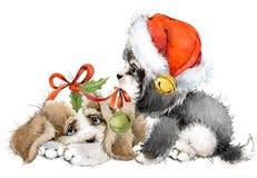 Carte de voeux d'année de chien illustration mignonne d'aquarelle de chiot Photographie stock libre de droits