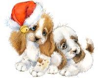 Carte de voeux d'année de chien illustration mignonne d'aquarelle de chiot Images stock