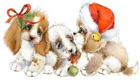 Carte de voeux d'année de chien illustration mignonne d'aquarelle de chiot Photos libres de droits