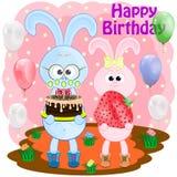 Carte de voeux d'anniversaire avec des lapins illustration de vecteur