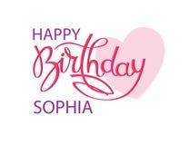 Carte de voeux d'anniversaire avec le nom Sophia Lettrage ?l?gant de main et un grand coeur rose ?l?ment d'isolement de conceptio illustration stock