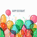 Carte de voeux d'anniversaire avec les ballons à air colorés de vecteur Image libre de droits