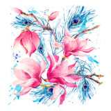 Carte de voeux d'aquarelle avec la magnolia de floraison de fleurs illustration de vecteur