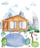Carte de voeux d'aquarelle avec le paysage d'Européen de montagne illustration stock