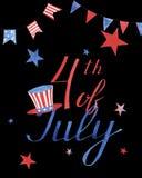 Carte de voeux d'aquarelle avec les étoiles et le chapeau au Jour de la Déclaration d'Indépendance de l'Amérique sur le fond noir image stock