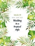 Carte de voeux d'aquarelle avec les feuilles tropicales Photo libre de droits