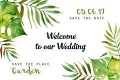 Carte de voeux d'aquarelle avec les feuilles tropicales Photos stock