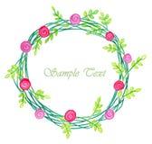 Carte de voeux d'aquarelle de vintage avec des fleurs et branche verte, endroit pour votre texte illustration stock
