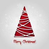 Carte de voeux d'arbre de Joyeux Noël Conception de papier Photographie stock libre de droits