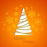 Carte de voeux d'arbre de Joyeux Noël Conception de papier Photo libre de droits