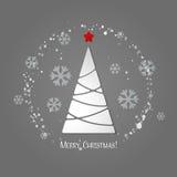 Carte de voeux d'arbre de Joyeux Noël Conception de papier Photos libres de droits