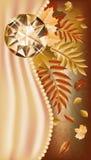 Carte de voeux d'automne avec la pierre gemme précieuse Photographie stock libre de droits