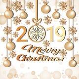 Carte de voeux 2019 d'or de décoration de flocons de neige de boules de concept de bonne année de Joyeux Noël illustration de vecteur