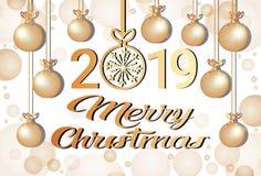 Carte de voeux 2019 d'or de décoration de flocons de neige de boules de concept de bonne année de Joyeux Noël horizontale illustration libre de droits