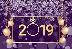 Carte de voeux 2019 d'or de décoration de flocons de neige de lumières de boules de concept de bonne année de Joyeux Noël horizon illustration libre de droits