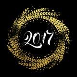 Carte de voeux d'or de bonne année de guirlande de décoration de scintillement illustration libre de droits