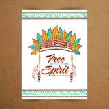 Carte de voeux d'esprit gratuit, invitation, affiche, bannière et insecte Images stock