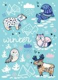 Carte de voeux d'hiver avec les animaux du nord de bande dessinée, l'iceberg géométrique et les montagnes Illustration de vecteur Photos libres de droits