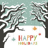 Carte de voeux d'hiver bonnes fêtes. Photo stock
