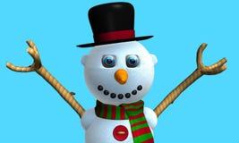 Carte de voeux d'homme de sourire de neige avec le chapeau noir et l'écharpe rouge et verte avec des boutons sur le coffre modelé image libre de droits