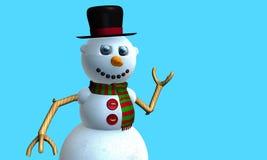 Carte de voeux d'homme de sourire de neige avec le chapeau noir et l'écharpe rouge et verte avec des boutons sur le coffre modelé image stock