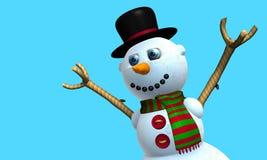 Carte de voeux d'homme de sourire de neige avec le chapeau noir et l'écharpe rouge et verte avec des boutons sur le coffre modelé photos libres de droits