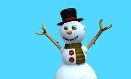 Carte de voeux d'homme de sourire de neige avec le chapeau noir et l'écharpe rouge et verte avec des boutons sur le coffre modelé photo stock