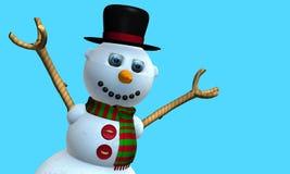 Carte de voeux d'homme de sourire de neige avec le chapeau noir et l'écharpe rouge et verte avec des boutons sur le coffre modelé photographie stock