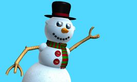 Carte de voeux d'homme de sourire de neige avec le chapeau noir et l'écharpe rouge et verte avec des boutons sur le coffre modelé photos stock