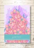 Carte de voeux d'invitation ou de calibre avec les roses tirées par la main Photo stock