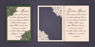 Carte de voeux d'invitation ou de mariage avec l'ornement de dentelle de vintage Maquette pour la coupe de laser Illustration de  Photos libres de droits