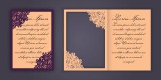 Carte de voeux d'invitation ou de mariage avec l'ornement de dentelle de vintage Maquette pour la coupe de laser Illustration de  Image stock