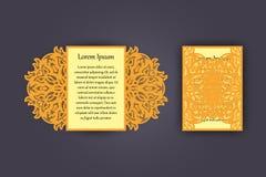 Carte de voeux d'invitation ou de mariage avec l'ornement de dentelle de vintage Maquette pour la coupe de laser Illustration de  Image libre de droits