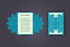 Carte de voeux d'invitation ou de mariage avec l'ornement de dentelle de vintage Maquette pour la coupe de laser Illustration de  Photo stock