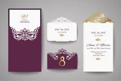 Carte de voeux d'invitation ou de mariage avec l'ornement floral d'or Enveloppe d'invitation de mariage pour la coupe de laser Photographie stock