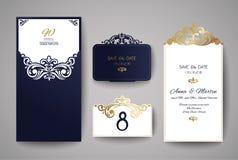 Carte de voeux d'invitation ou de mariage avec l'ornement floral d'or Enveloppe d'invitation de mariage pour la coupe de laser Images stock