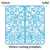Carte de voeux d'invitation ou de Noël d'hiver avec l'ornement abstrait de flocons de neige Photos libres de droits