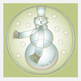 Carte de voeux d'an neuf avec le bonhomme de neige Photos libres de droits