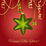 Carte de voeux d'an neuf Boule d'étoile de Noël avec l'arc et le ruban Décorations de Noël Étincelles et bokeh Brillant et rougeo Photos stock