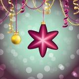 Carte de voeux d'an neuf Boule de Noël avec l'arc et le ruban Photo stock