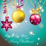 Carte de voeux d'an neuf Boule de Noël avec l'arc et le ruban Photos stock