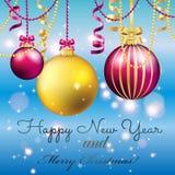 Carte de voeux d'an neuf Boule de Noël avec l'arc et le ruban Images libres de droits