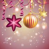 Carte de voeux d'an neuf Boule de Noël avec l'arc et le ruban Images stock