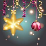 Carte de voeux d'an neuf Boule de Noël avec l'arc et le ruban Image stock
