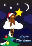 Carte de voeux d'ours de Noël Photos libres de droits