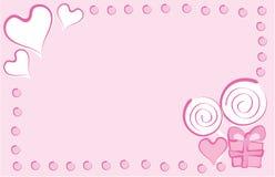 Carte de voeux dans le rose illustration stock