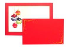 Carte de voeux de babioles de Noël Photo stock
