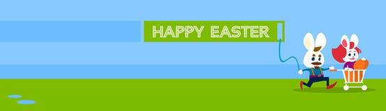 Carte de voeux de bannière de vacances de Bunny Couple Colorful Eggs Happy Pâques de lapin Photographie stock libre de droits