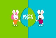 Carte de voeux de bannière de vacances de Bunny Couple Colorful Eggs Happy Pâques de lapin Photo libre de droits