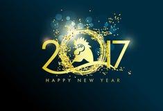 Carte de voeux de bonne année 2017 avec de l'or Photographie stock libre de droits